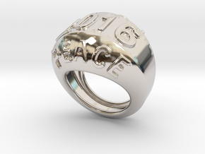 2016 Ring Of Peace 20 - Italian Size 20 in Rhodium Plated Brass