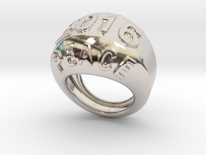 2016 Ring Of Peace 21 - Italian Size 21 in Rhodium Plated Brass
