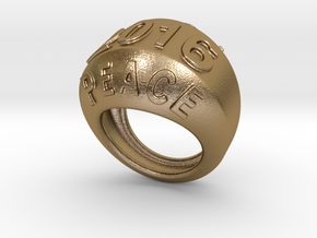 2016 Ring Of Peace 24 - Italian Size 24 in Polished Gold Steel