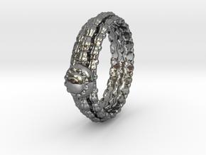 Alien Egg Ring Alfa in Fine Detail Polished Silver