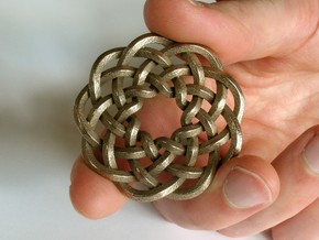 Woven Starburst Pendant in Polished Bronzed Silver Steel