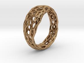 Voronoi ring 1.6cm(interior) in Polished Brass