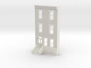 HO SCALE ROW HOME FRONT 3S  in White Natural Versatile Plastic