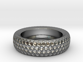 Circle Pattern Band - Size 12 3/4 in Fine Detail Polished Silver
