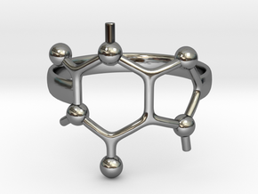 Caffeine Molecule ring - size 6 in Fine Detail Polished Silver