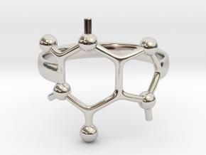 Caffeine Molecule ring - size 6 in Rhodium Plated Brass