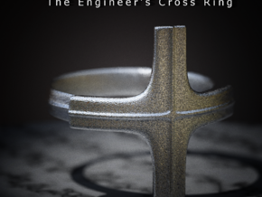 The Engineer's Cross Ring in Polished Bronzed Silver Steel