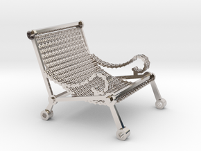 1:12 scale miniature industrial art chair in Rhodium Plated Brass