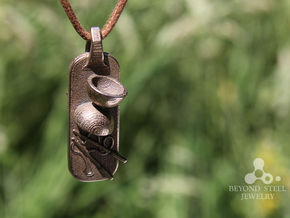 Diabolo Pendant in Polished Bronzed Silver Steel