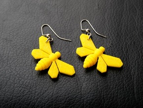 Bee Earrings in Yellow Processed Versatile Plastic