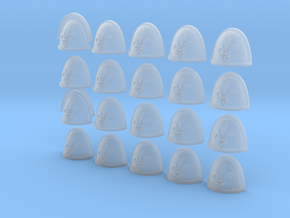 Fleur De Lis - 20, 28mm Shoulder Pads in Smooth Fine Detail Plastic