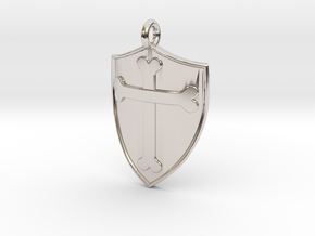 Medieval Shield Pet Tag / Pendant in Rhodium Plated Brass