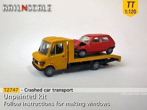 SET Crashed Car Transport  (TT 1:120) in Smooth Fine Detail Plastic