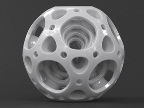 Nested Dodecahedron in White Processed Versatile Plastic