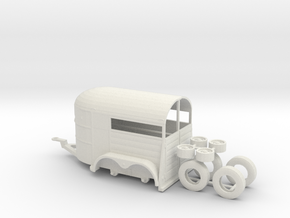 1/50th tandem axle 13' long horse trailer in White Natural Versatile Plastic