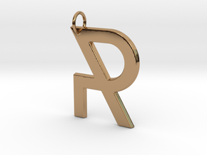 R in Polished Brass