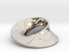 Minimal Mobius pendant (1 in) in Rhodium Plated Brass
