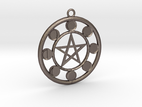 Lunar Phases Pentacle Pendant in Polished Bronzed Silver Steel