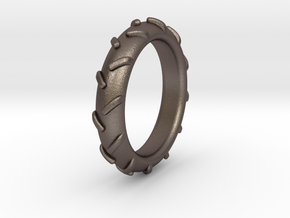 Traktortire Ring - Part 4 in Polished Bronzed Silver Steel