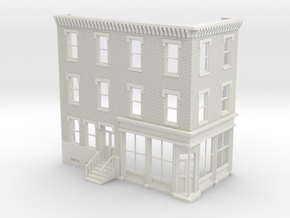 Philadelphia corner store 3 stories Front Reverse  in White Natural Versatile Plastic