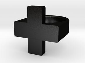 Plus Ring   in Matte Black Steel