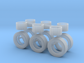 1/50th Horse and other trailers wheel & Tire set in Smooth Fine Detail Plastic