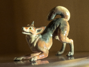 Playful Wolf in Full Color Sandstone