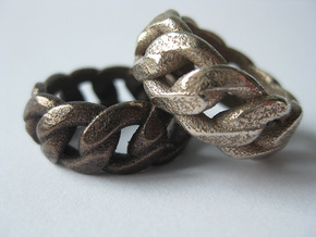 Chained Ring of Honor in Polished Bronzed Silver Steel