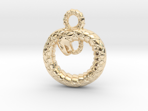 Ouroboros Pendant in 14k Gold Plated Brass