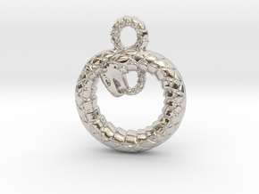 Ouroboros Pendant in Rhodium Plated Brass