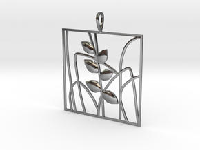 Plant and grass Alhendin pendant in Fine Detail Polished Silver