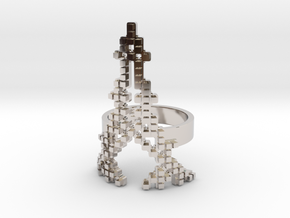 Paris Invader Ring in Rhodium Plated Brass: 6.5 / 52.75