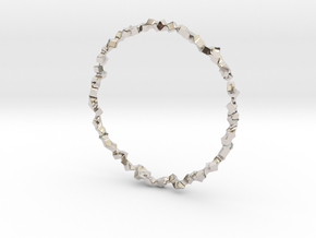 Bracelet of Cubes No.1 in Rhodium Plated Brass