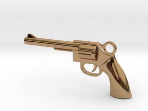 REVOLVER - GUN Pendant in Polished Brass