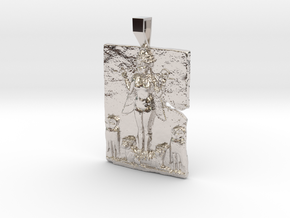 Queen of the Night, Ishtar pendant in Rhodium Plated Brass