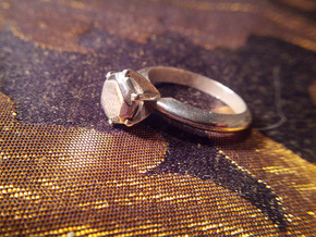Diamond ring 'Big', Size 8 us (18.2mm) in Polished Silver