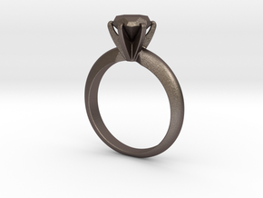 Diamond ring 'Big', Size 8 us (18.2mm) in Polished Bronzed Silver Steel