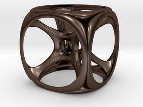 HyperCube Pendant in Polished Bronze Steel