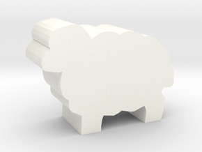 Sheep Meeple in White Processed Versatile Plastic