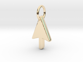 Mouse Cursor Pendant in 14k Gold Plated Brass
