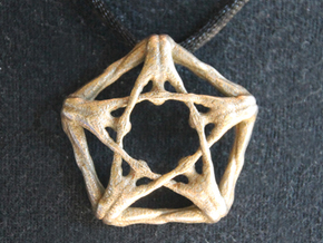 Pentaman pendant - Naked Geometry in Polished Bronzed Silver Steel