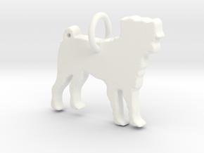 Dog Pendant in White Processed Versatile Plastic
