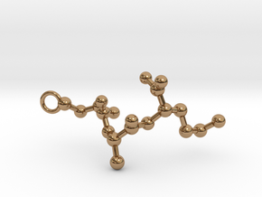 Peptide Sequence Keychain Necklace C A M in Polished Brass