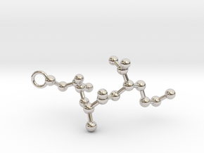 Peptide Sequence Keychain Necklace C A M in Rhodium Plated Brass