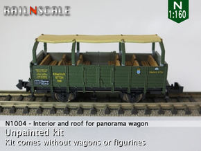 Interior and roof for panorama wagon (N 1:160) in Smooth Fine Detail Plastic