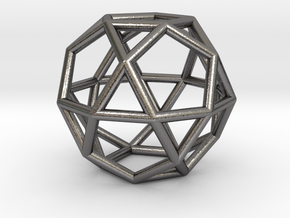 0276 Icosidodecahedron E (a=1cm) #001 in Polished Nickel Steel