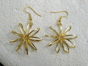 Nine Moebius Star Earrings in Raw Brass