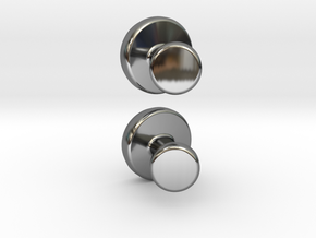 Cuff-link - Gem/Bead Settable in Fine Detail Polished Silver