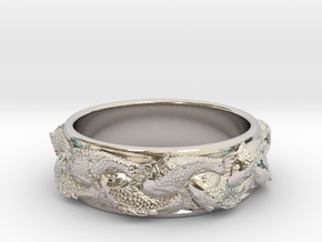Fish Ring Size 8 in Rhodium Plated Brass
