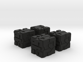 Game Piece, Hive Battlecube 16mm 4-set in Black Natural Versatile Plastic